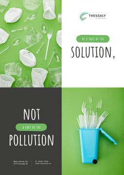 Plastic Waste Concept Disposable Tableware