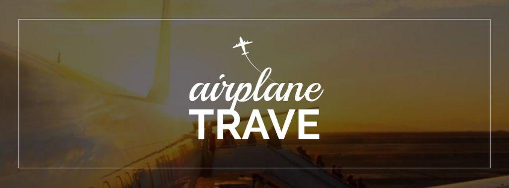 Plantilla de diseño de Plane in Scenic sky Facebook cover