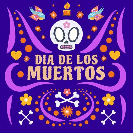 Dia de los Muertos Celebration with Bright Ornament Instagram – шаблон для дизайну