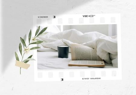Modèle de visuel Cozy bed in morning with Book and Coffee - VK Universal Post