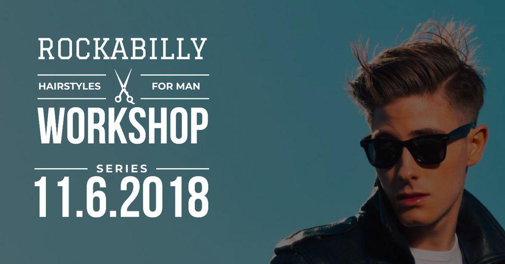 Ontwerpsjabloon van Facebook AD van Hairstyles workshop with Stylish Man