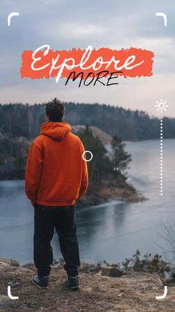 Man admiring Forest River view Instagram Video Story Modelo de Design