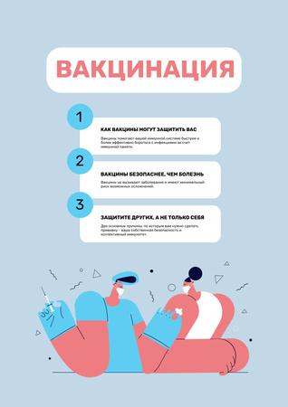 Virus Vaccination Steps Announcement Poster – шаблон для дизайна