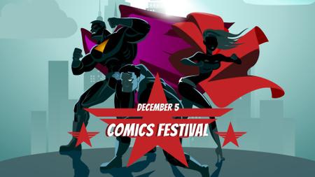 Comics Festival Announcement with Superheroes FB event cover – шаблон для дизайна