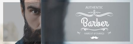 Plantilla de diseño de Barbershop Ad with Man with Beard and Mustache Email header