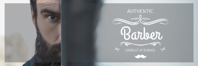 Barbershop Ad with Man with Beard and Mustache Email header Tasarım Şablonu