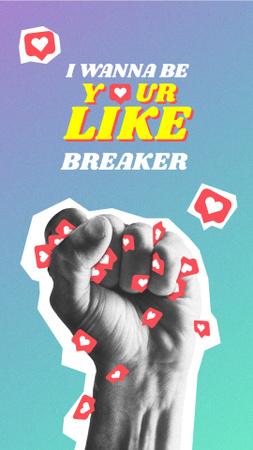 Modèle de visuel Funny Illustration of Hand holding Likes - Instagram Story
