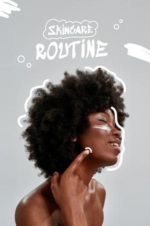 Beauty Blog Promotion with Girl applying Cream Pinterest Modelo de Design