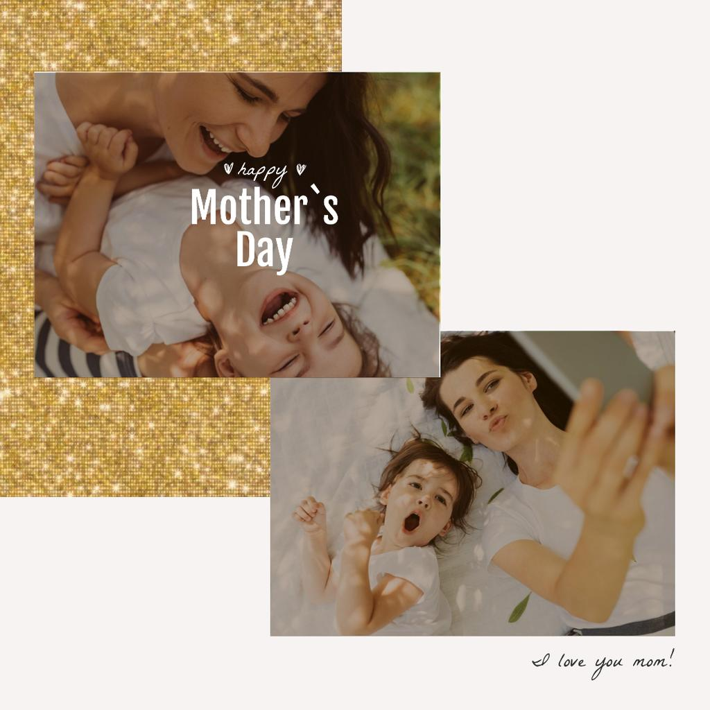 Smiling mother and daughter on Mother's Day — Crear un diseño