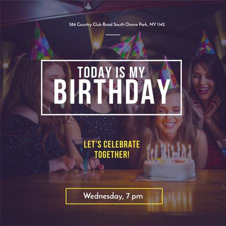 Birthday Party Invitation with People celebrating Instagram Tasarım Şablonu
