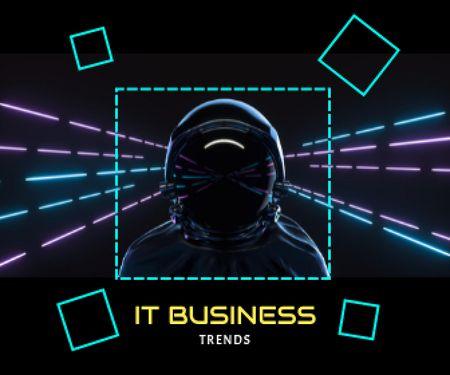 Astronaut in Neon Cyberspace Large Rectangle – шаблон для дизайну
