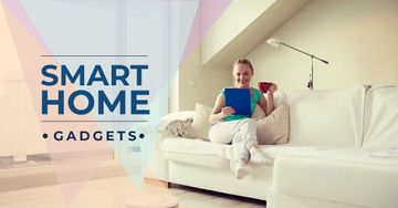 Smart home gadgets with Woman sitting on the sofa