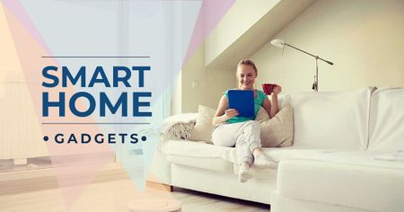 Smart home gadgets with Woman sitting on the sofa Facebook ADデザインテンプレート