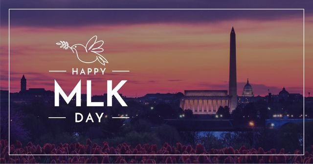 Modèle de visuel Martin Luther King day Greeting Evening City View - Facebook AD