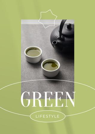 Modèle de visuel Green Lifestyle Concept with Tea in Cups - Poster