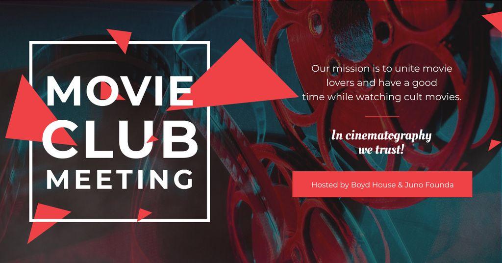 Ontwerpsjabloon van Facebook AD van Movie club meeting Announcement