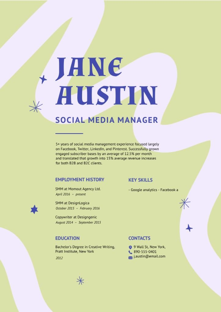 Social Media Manager skills and experience Resume Modelo de Design