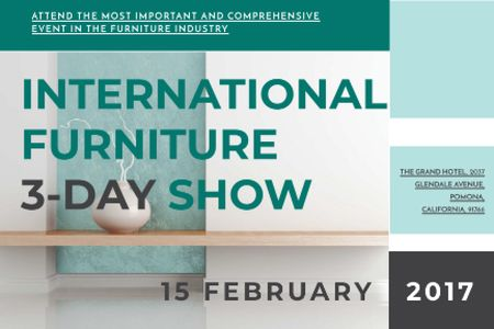 Plantilla de diseño de International furniture show Announcement Gift Certificate