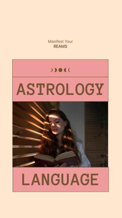 Ontwerpsjabloon van Instagram Story van Astrology Inspiration with Woman reading Book