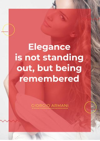 Designvorlage Elegance quote with Young attractive Woman für Flayer
