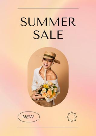 Ontwerpsjabloon van Poster van Summer Sale Ad with Stylish Female Bag