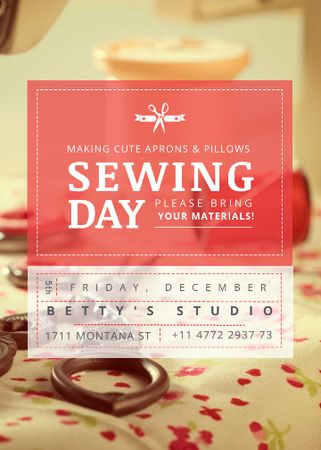 Modèle de visuel Sewing day event with needlework tools - Flayer