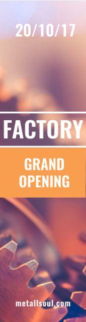 Plantilla de diseño de Factory grand opening banner Skyscraper