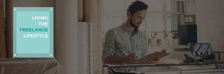 Modèle de visuel Young man working at home, freelance lifestyle concept - Twitter