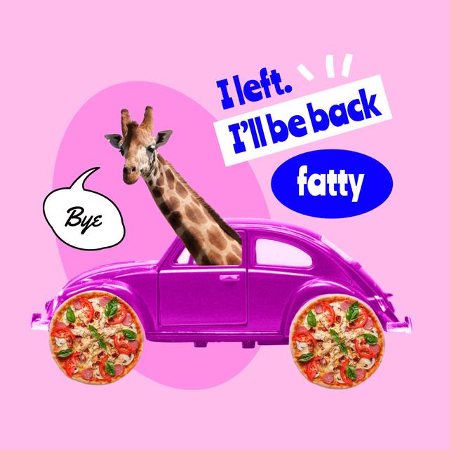 Plantilla de diseño de Funny Giraffe in Bright Retro Car Instagram