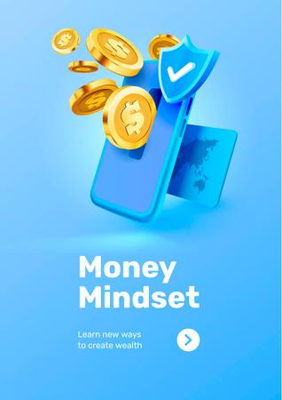Phone with coins for Money Mindset Poster Design Template