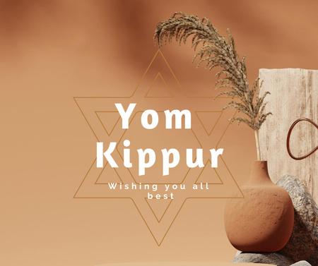 Yom Kippur Holiday Greeting with Star of David Facebook – шаблон для дизайна