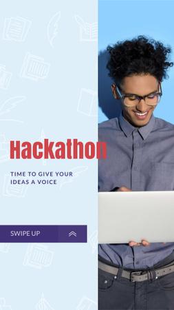 Man holding Laptop for Hackathon announcement Instagram Story Modelo de Design
