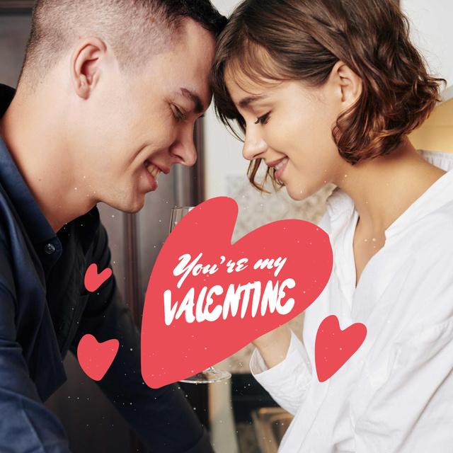 Tender Couple hugging on Valentine's Day Instagramデザインテンプレート