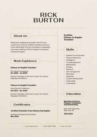 Translator skills and experience Resume Modelo de Design