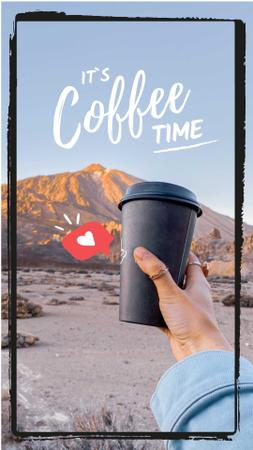 Ontwerpsjabloon van Instagram Video Story van Cup of Coffee on mountains background