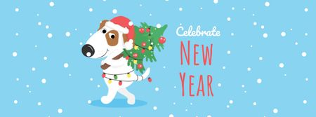 Plantilla de diseño de New Year Greeting with Cute Dog Facebook cover