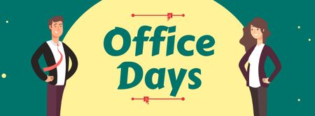 Office Days Announcement with Workers Facebook coverデザインテンプレート