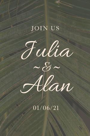 Template di design Wedding Day Announcement with Tropical Plant Leaf Pinterest