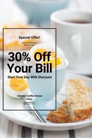 Designvorlage Discount voucher for coffee shop für Pinterest