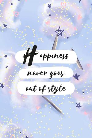 Happiness Quote on blue pattern Pinterest Design Template