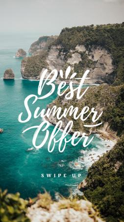 Summer Travel Offer with Scenic Cliffs Instagram Story Modelo de Design