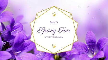 Spring Fair Announcement with Violets Flowers FB event cover – шаблон для дизайну