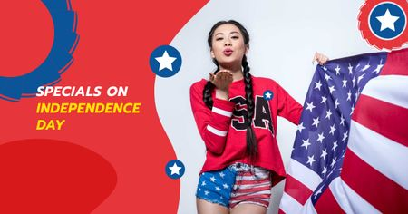 Ontwerpsjabloon van Facebook AD van Independence USA Day Offer with Woman sending Kiss