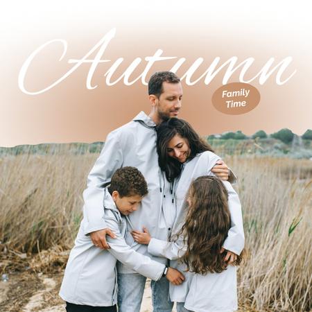 Autumn Inspiration with Cute Family on Nature Instagram – шаблон для дизайну