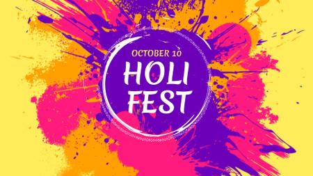 Ontwerpsjabloon van FB event cover van Holi Festival Announcement with Splash of Paint