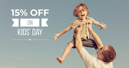 Ontwerpsjabloon van Facebook AD van Children's Day Offer with Dad holding Child