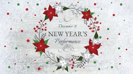 Modèle de visuel New Year's Performance Announcement with Festive Wreath - FB event cover