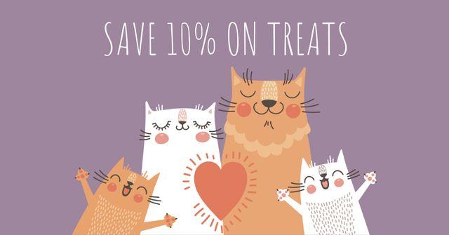 Ontwerpsjabloon van Facebook AD van Pet treats Offer with Cute Cat Family
