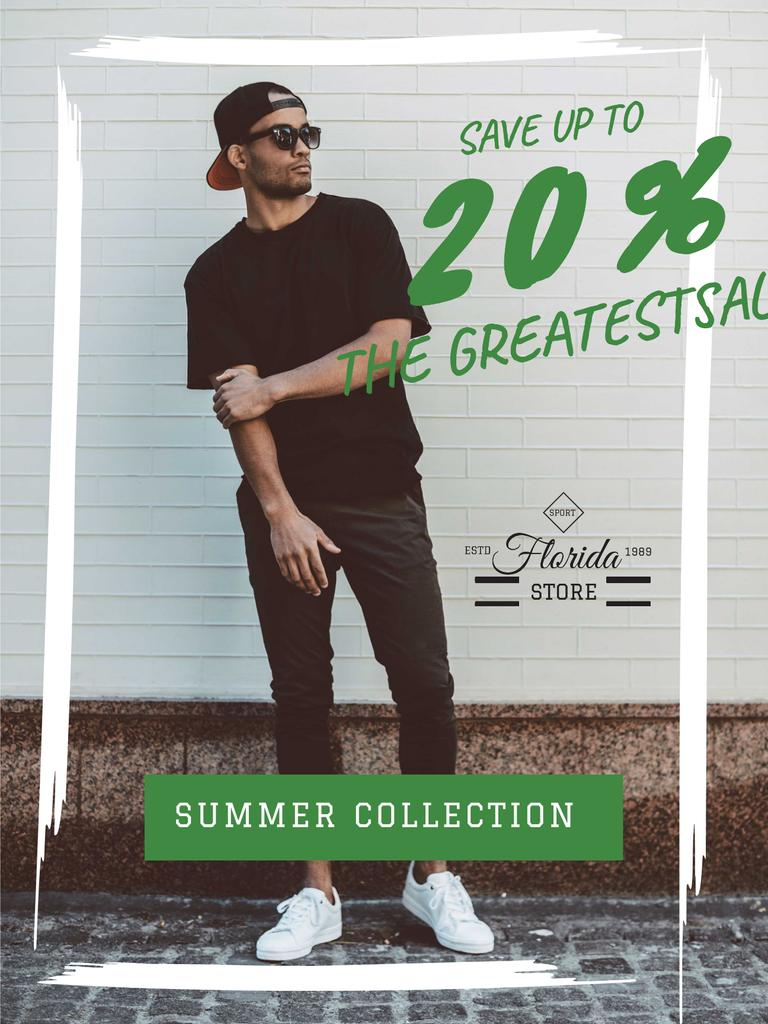 Fashion sale ad with Young Man Poster US – шаблон для дизайну