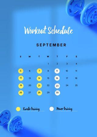Designvorlage Workout Schedule with Dumbbells für Schedule Planner